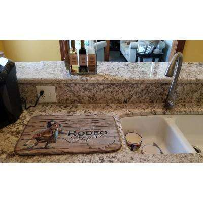 14 in. x 21 in. Multicolor Rodeo Cowgirl Barrel Racer Dish Drying Mat