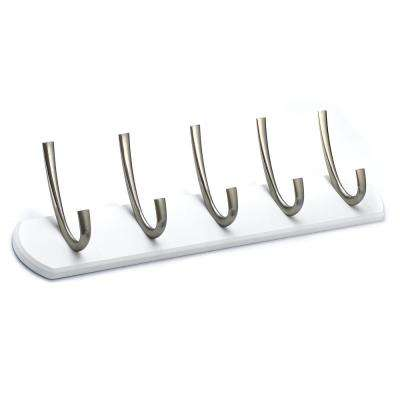 21 in. (533 mm) White Contemporary Hook Rack
