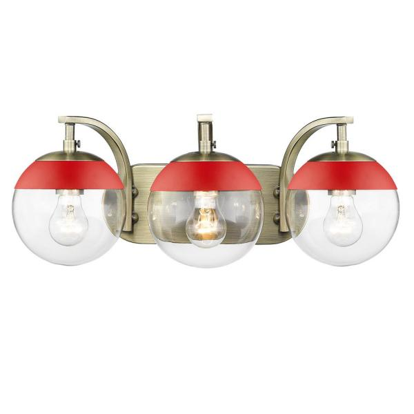 Dixon 12 in. 3-Light Aged Brass with Clear Glass and Red Cap Bath Vanity Light