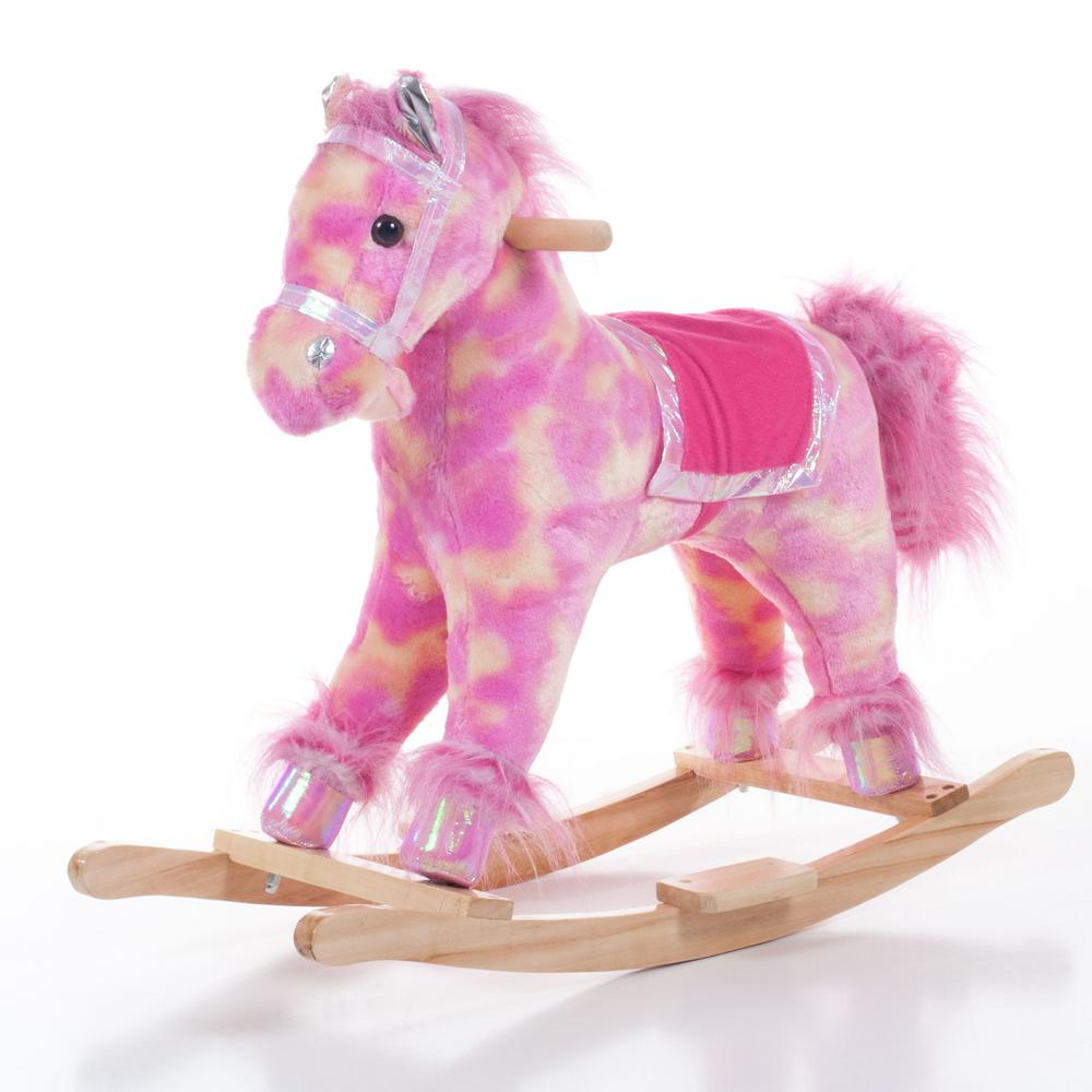 Happy Trails Plush Pink Rocking Pink Pony 80 74pony The Home Depot