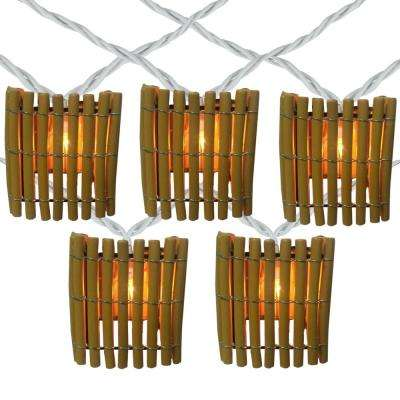 10-Light Clear Tiki Bamboo Summer Garden Patio Christmas Mini Incandescent Lights with White Wire