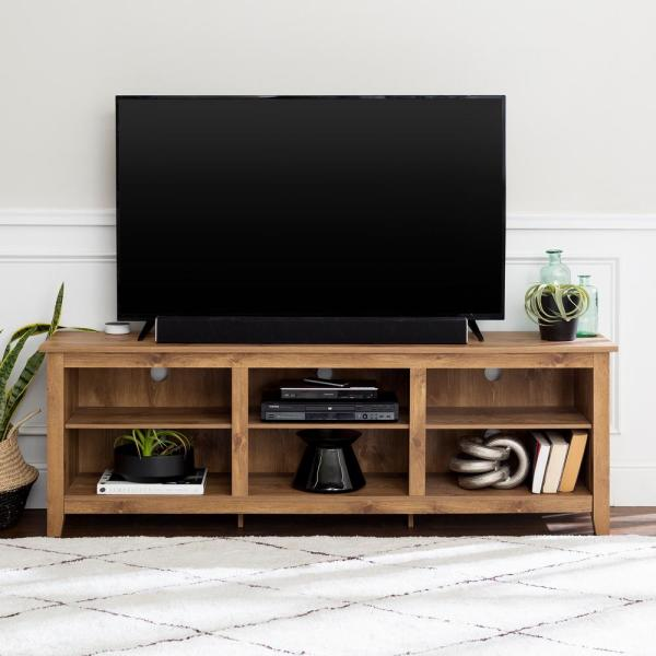 Walker Edison Furniture Company Barnwood 70 In Barnwood Mdf Tv Stand 70 In With Adjustable Shelves Hd70cspbw The Home Depot