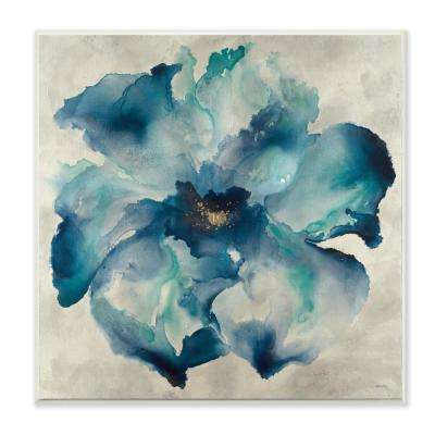 """12 in. x 12 in. """"Dark Misty Blue Watercolor Flower Painting"""" by Artist Third and Wall Wood Wall Art"""