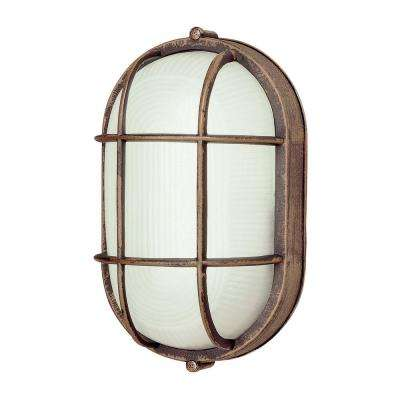 1-Light Outdoor Fluorescent Rust Bulkhead-Light