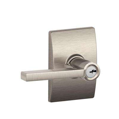Custom Latitude Satin Nickel Entry Door Lever with Century Trim