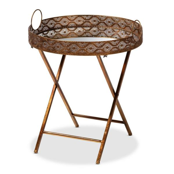 Baxton Studio Lamia Antique Gold Accent Tray Table 151-9072-HD