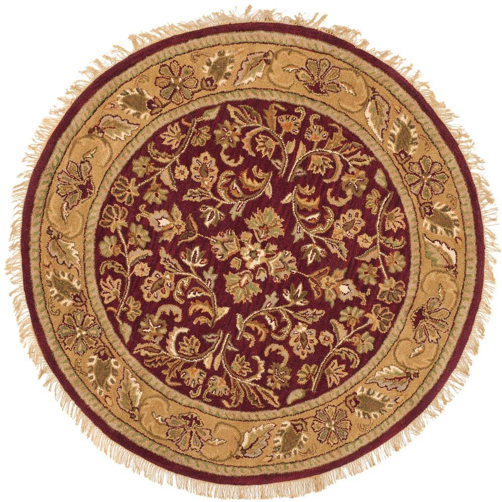 Safavieh heritage red gold 8 ft x 8 ft round area rug for Red and gold area rugs