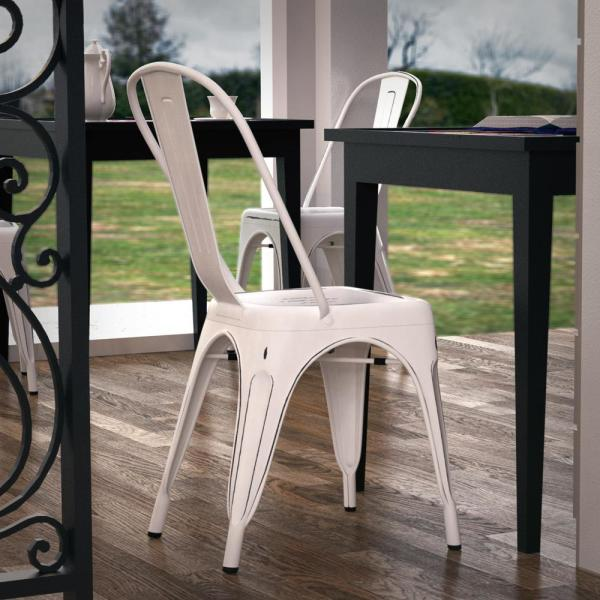 Poly and Bark Trattoria Distressed White Side Chair (Set of 4)