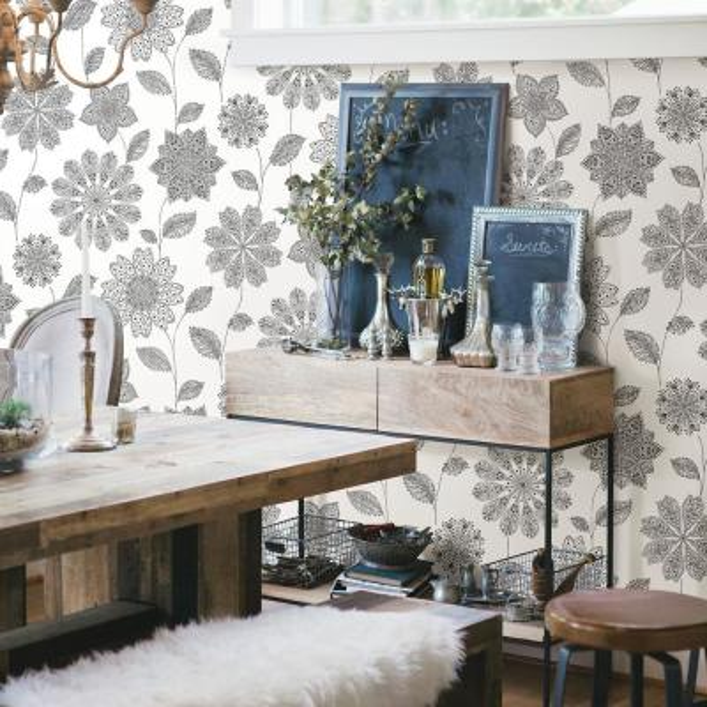 Panache Black Floral Wallpaper Sample