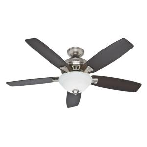 Hunter heathrow 52 in indoor brushed nickel ceiling fan with indoor brushed nickel ceiling fan with light aloadofball Images