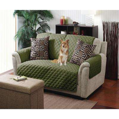 Reversible Quilted Furniture Chair/Recliner Seat Protector in Sage/Olive