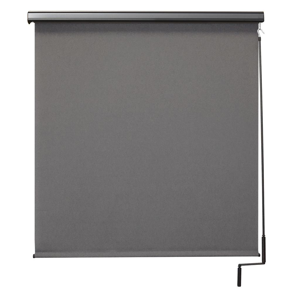 SeaSun Morro Bay Elite PVC Fabric Outdoor Roller Shade Cordless Pole Operated with Valance - 96 in. W x 96 in. L