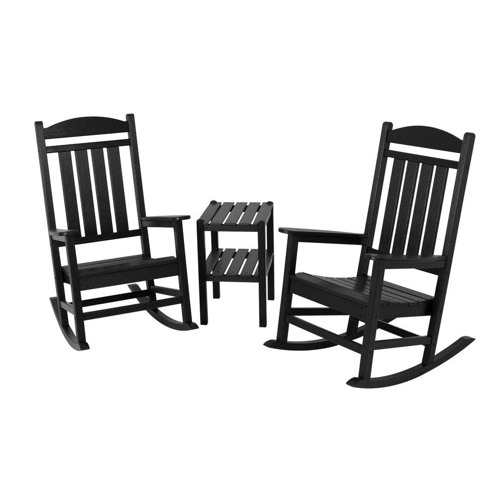 POLYWOOD Presidential Black 3-Piece Patio Rocker Set