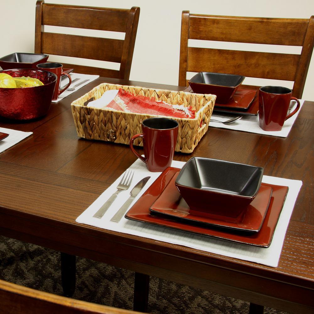 Kiesling 16-Piece Modern Red Stoneware Dinnerware Set (Service for 4)