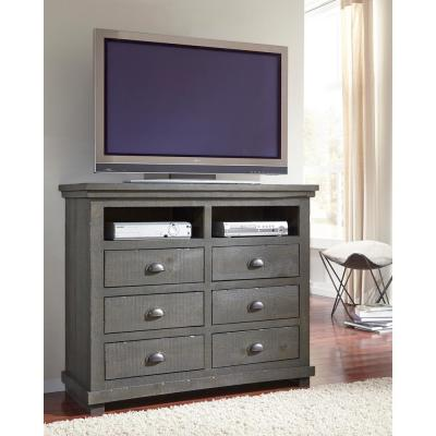 Willow 48 in. Distressed Dark Gray Wood TV Stand with 6 Drawer Fits TVs Up to 50 in. with Cable Management