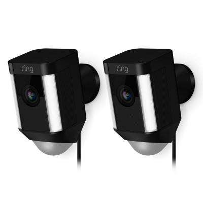 Spotlight Cam Wired Outdoor Rectangle Security Camera, Black (2-Pack)