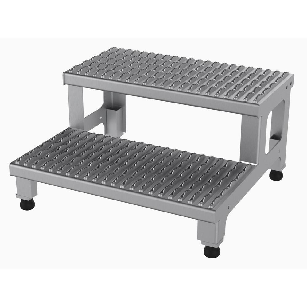 Vestil 24 inch x 23 inch 2-Step Adjustable Stainless Steel Step Mate Stand by Vestil