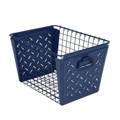 Macklin Medium Metal Basket in Navy Blue