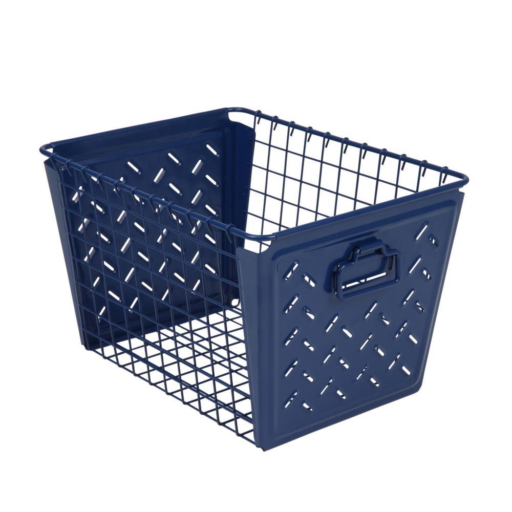 Macklin Medium Metal Basket in Navy Blue