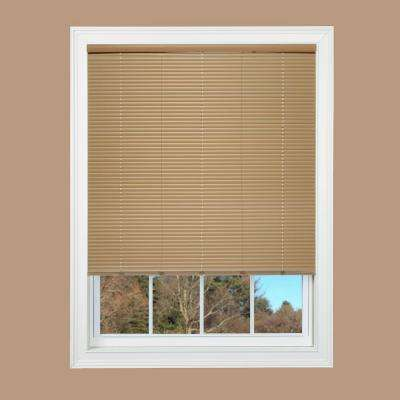 Cut-to-Width Taupe Cordless 1 in. Duplex Vinyl Mini Blind - 60 in. W x 64 in. L