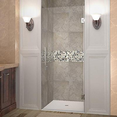 Cascadia 32 in. x 72 in. Completely Frameless Hinged Shower Door in Stainless Steel with Clear Glass
