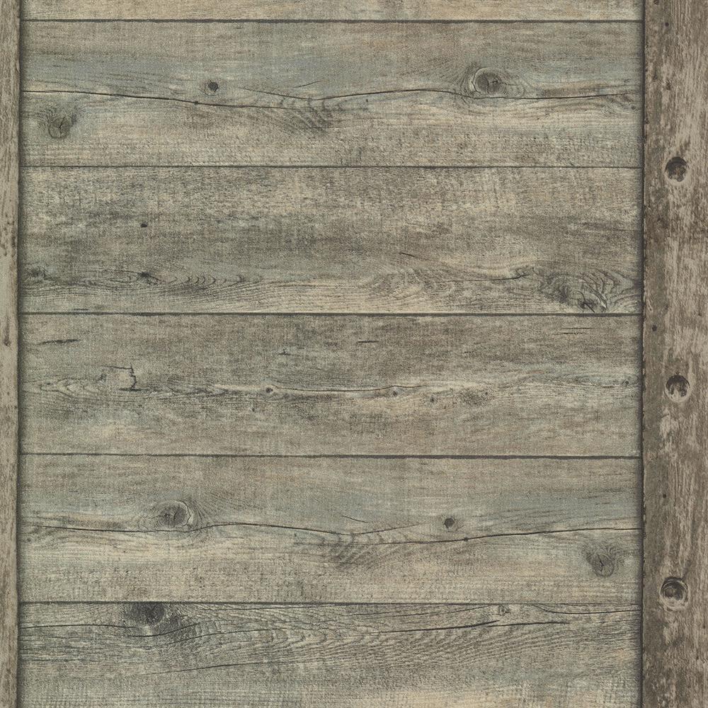 56.4 sq. ft. Absaroka Brown Shiplap Wallpaper