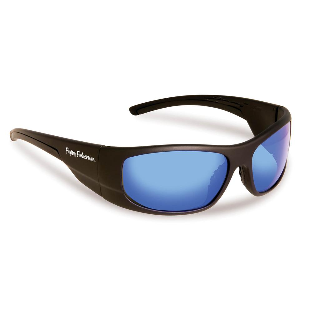 f43f52b80f6c0 Flying Fisherman Cape Horn Polarized Sunglasses in Black Frame with Smoke  in Blue Mirror Lens