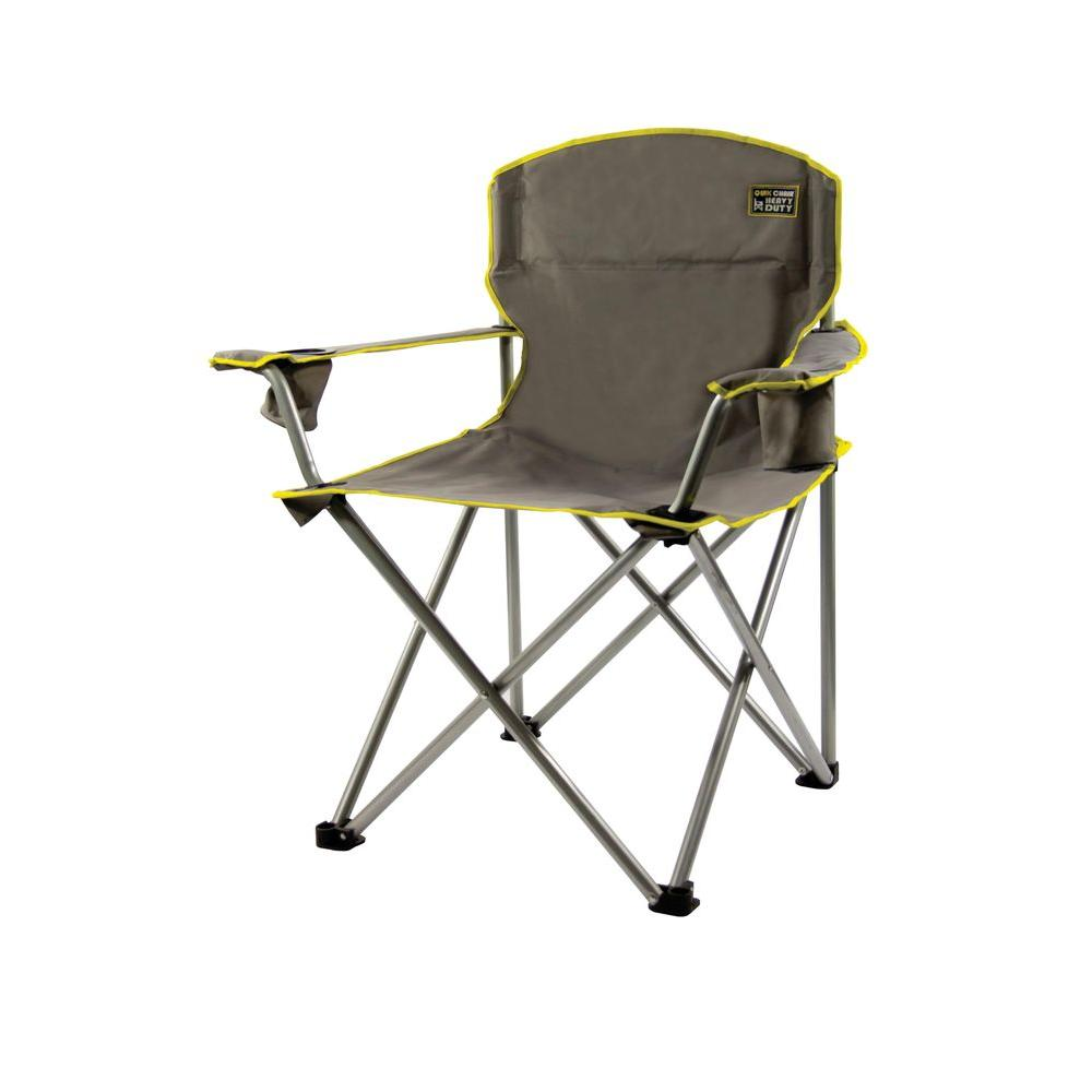 Quik Chair Gray Heavy Duty Folding Patio Armchair