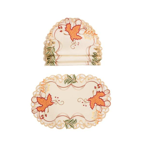 0.1 in. H x 19 in. W x 13 in. D Falling Leaves Embroidered Cutwork Placemats (Set of 4)