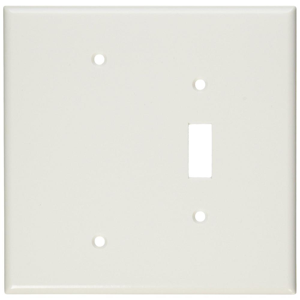 2-Gang 1-Toggle 1-Blank Device Combination Wall Plate, Oversized, Thermoset, White