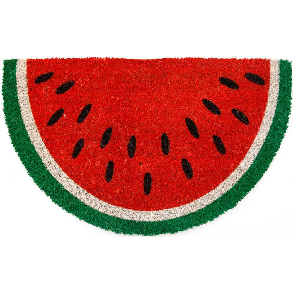 Entryways Watermelon 28 inch x 17 inch Non Slip Coir Door Mat by Entryways