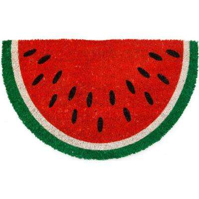 Watermelon 28 in. x 17 in. Non Slip Coir Door Mat