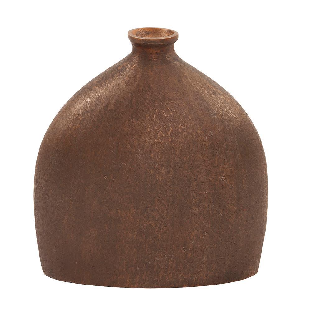 Metallic Textured Flask Vase in Dark Copper