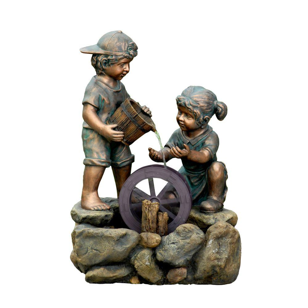 Fountain Cellar Two Kids Outdoor/Indoor Water Fountain-FCL069 ...