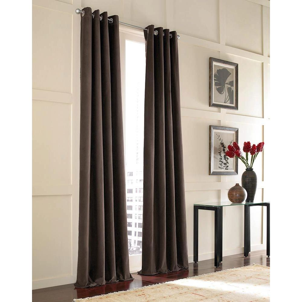 Curtainworks Sheer Chocolate Messina Velvet Grommet Panel- 52 in. W x 108 in. L