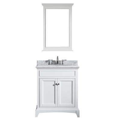 Elite Stamford 30 in. W x 23.5 in. D x 36 in. H Vanity in White with Carrera Marble Top in White with White Basin