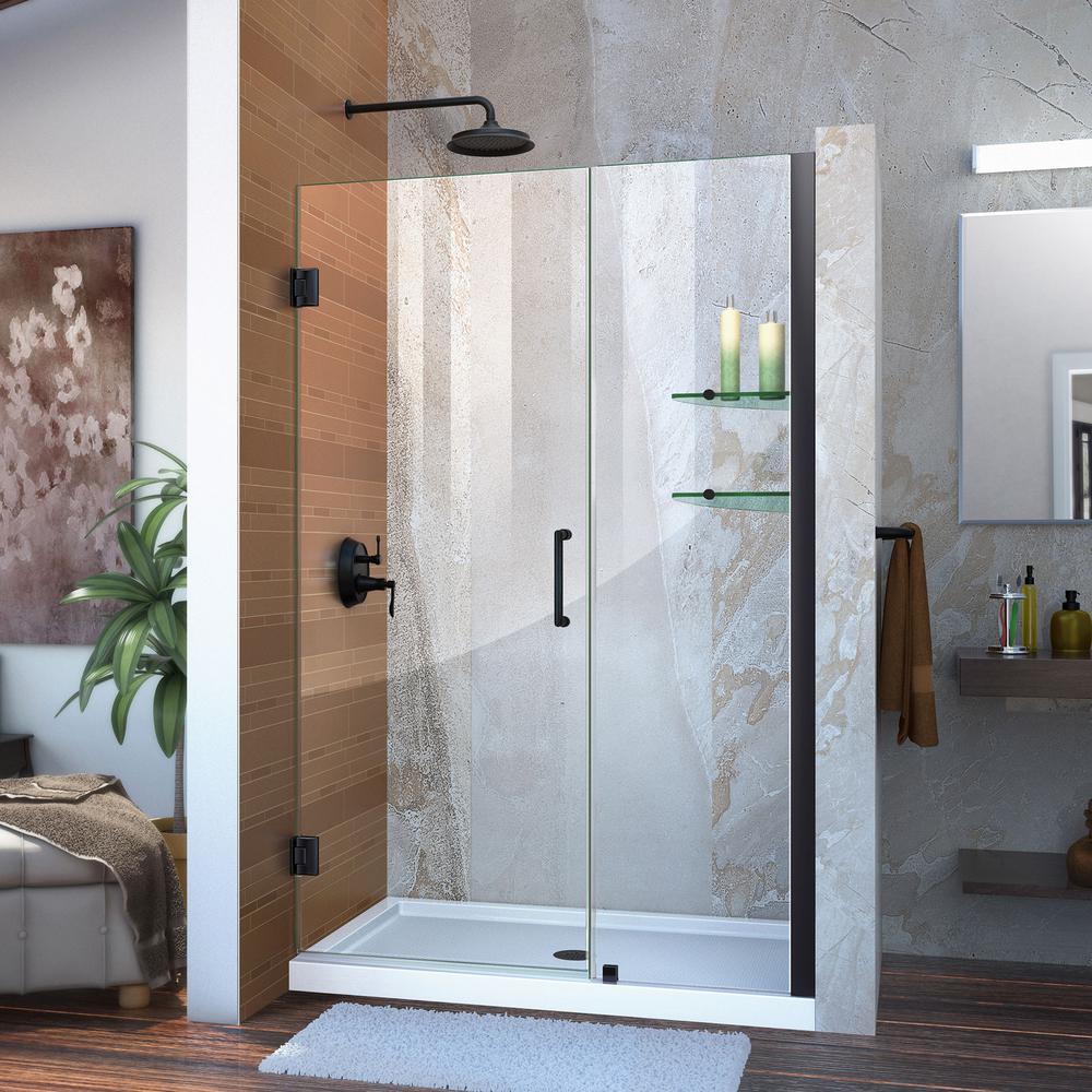 Unidoor 47 to 48 in. x 72 in. Frameless Hinged Shower Door in Satin Black