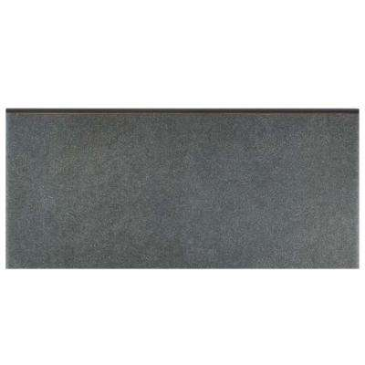 Twenties Black 3-1/2 in. x 7-3/4 in. Ceramic Bullnose Floor and Wall Trim Tile