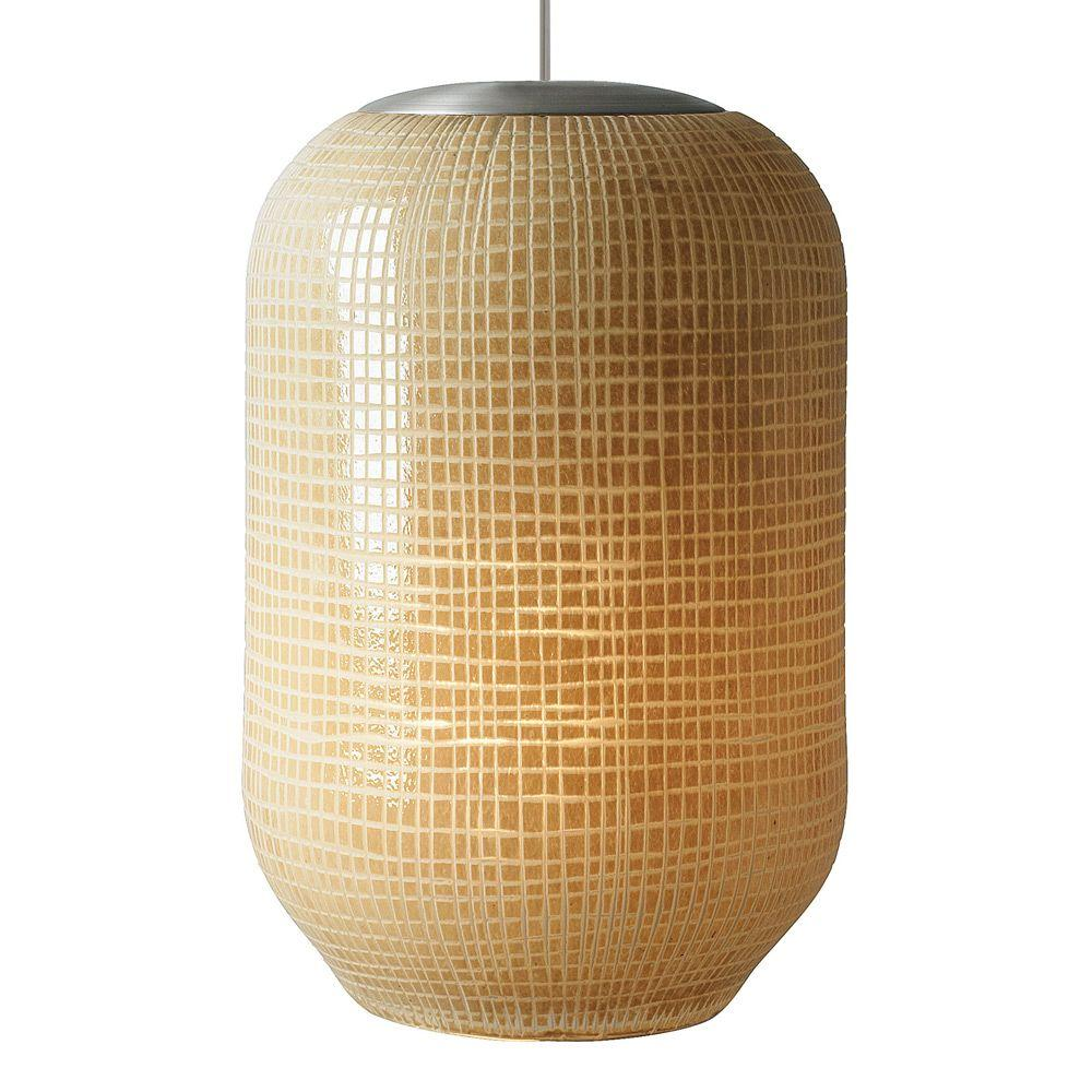 LBL Lighting Aiko 1-Light Bronze Fluorescent Pendant with Tan Shade
