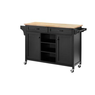 Rockford Black Wood Kitchen Island with Natural Butcher Block Top (56.25 in. W x 36 in. H)