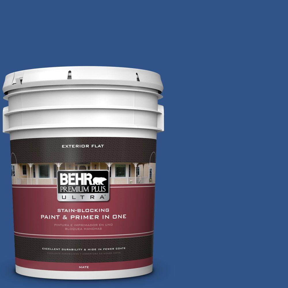 BEHR Premium Plus Ultra 5-gal. #S-G-590 Southern Blue Flat Exterior Paint
