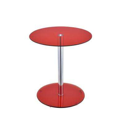 Halley Red Glass and Chrome Side Table