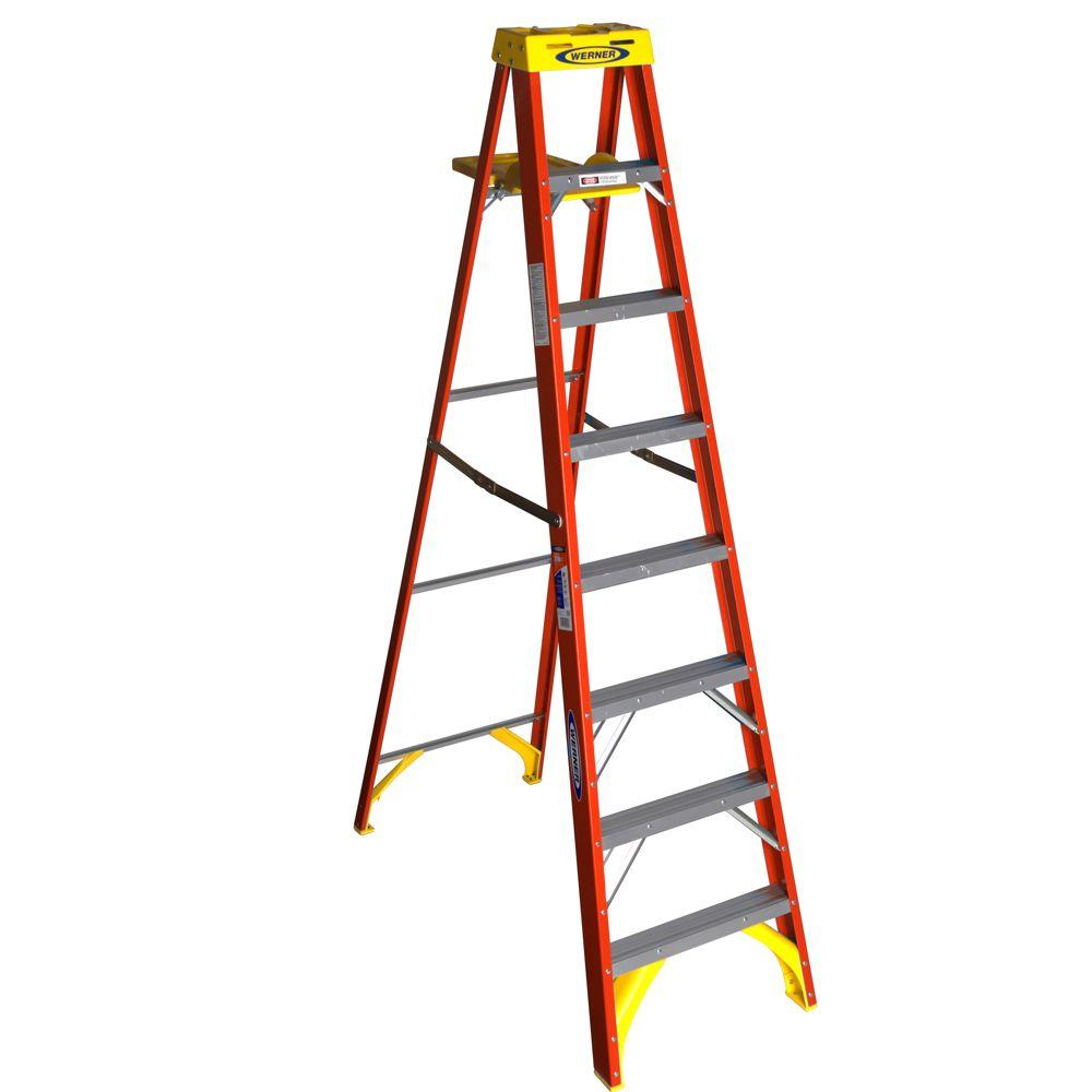 Werner 8 Ft Fiberglass Step Ladder With Shelf 300 Lb