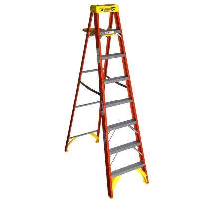 8 ft. Fiberglass Step Ladder with Shelf 300 lb. Load Capacity Type IA Duty Rating