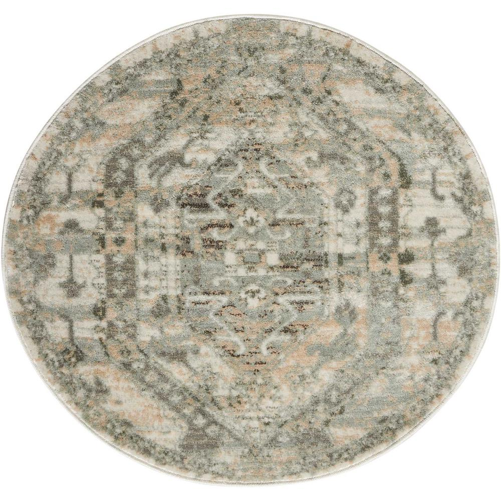 nourison euphoria ivory 3 ft 4 in round area rug 366207 the home depot. Black Bedroom Furniture Sets. Home Design Ideas
