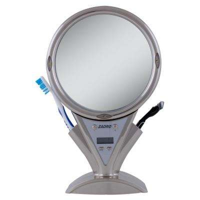 8.75 in. x 13.5 in. Power Zoom Lighted Fogless Shower Makeup Mirror in Stainless Steel