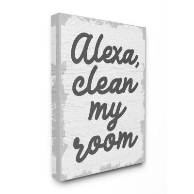 "20 in. x 16 in. "" Abstract Alexa Clean My Room Kids Funny Word Design"" by Daphne Polselli Canvas Wall Art"