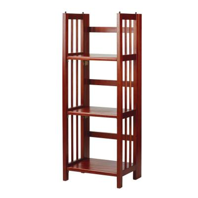 38 in. Mahogany Wood 3-shelf Folding Etagere Bookcase