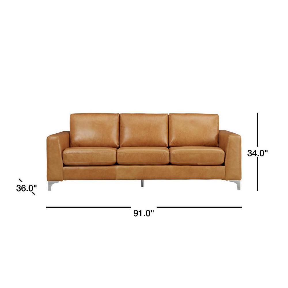 Piece Caramel Leather Sofa