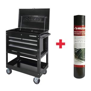 4drawer mechanics utility cart in black with liner